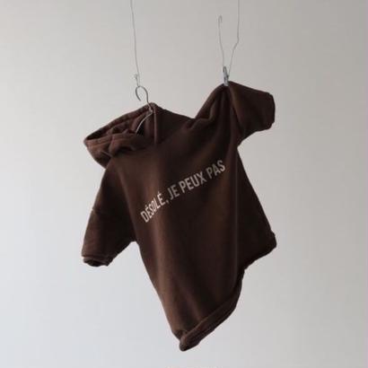 【予約】guno / 〝DESOLE JE PEUX PAS〟hood one piece / brown