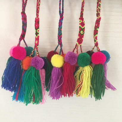 カラフル 3BALLS & 3タッセル COLORFUL 3BALLS& 3TASSELS  POMPOMS (F to J)