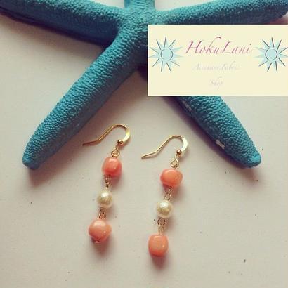 珊瑚×コットンパール連ピアス