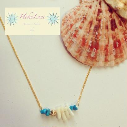ターコイズ×ホワイト珊瑚ネックレス