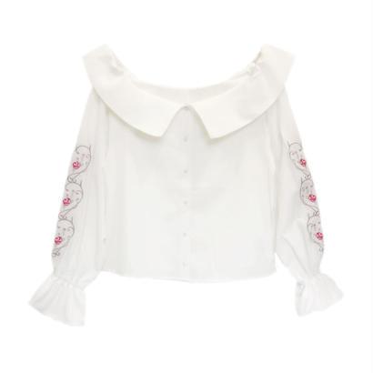 173SH22 【Mieux】袖刺繍オフショルブラウス