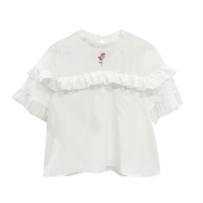 172TP49 【Mieux】ジョーゼットバラ刺繍ブラウス