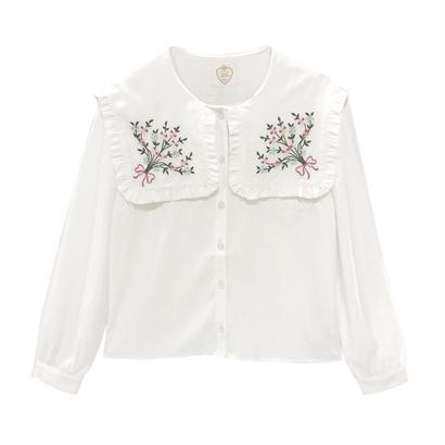 173SH18【Mieux】ブーケ刺繍ビッグ衿ブラウス