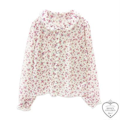 171SH04 【Mieux】花柄丸衿ブラウス