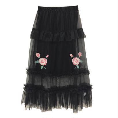 173SK40 ローズ刺繍チュールスカート