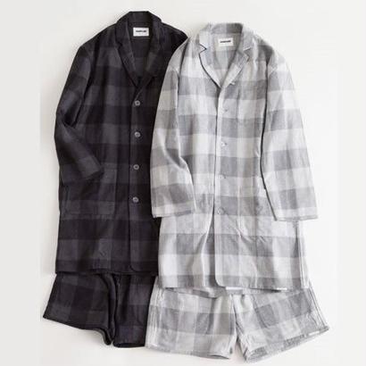 """NOWHAW """"day long"""" pajama / herringbone block check(#gray)"""