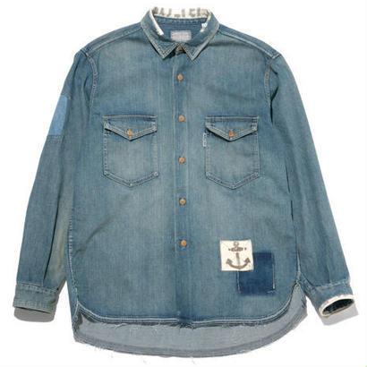 BLUE BLUE(ブルーブルー)  ブロークンデニム リペアワイドワークシャツ