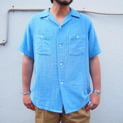 BLUE BLUE JAPAN(ブルーブルージャパン) シャットルダブルガーゼ テゾメ オープンカラー SSシャツ