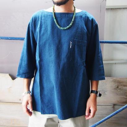 BLUE BLUE(ブルーブルー)インディゴドビー ボートネックプルオーバーシャツ