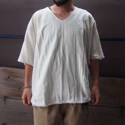 blurhms  Rough Silk Cotton  V-neck Shirt
