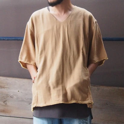 blurhms  (ブラームス)Rough Silk Cotton  V-neck Shirt