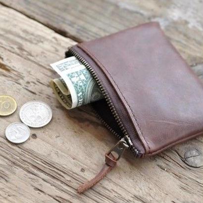 レザーの小さなお財布。またはミニポーチ。(チョコ)