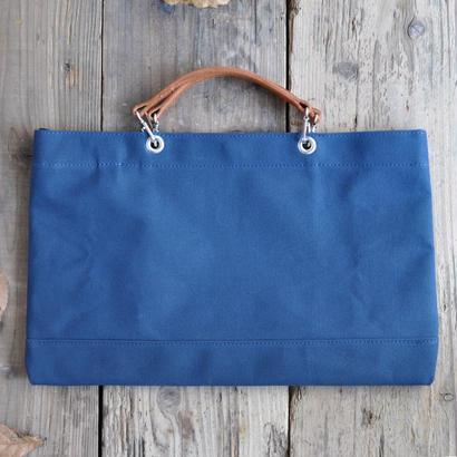 青の6号帆布で仕立てたスマート・トートバッグ