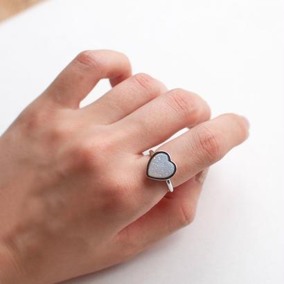 ring (silver_druzy_heart) [受注制作]