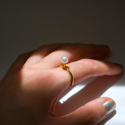 ring (gold_freshwater Pearl) [受注制作]