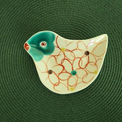 九谷焼、鳥型小皿⑤ 赤地 径、お待たせしました!