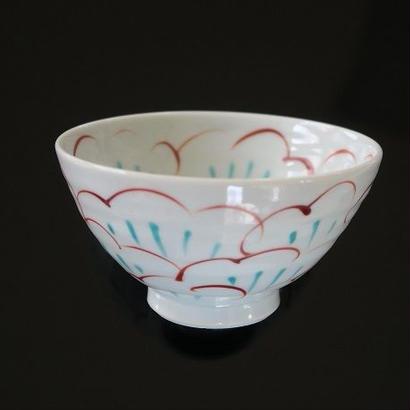 九谷焼、牡丹文飯茶碗、赤地径(金沢)  赤地陶房