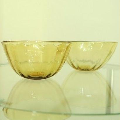 海藤博、吹きガラス、アンバーサラダボール2個組(ペア)