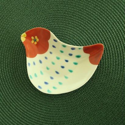 九谷焼 鳥型小皿① 赤地 径、 お待たせしました!