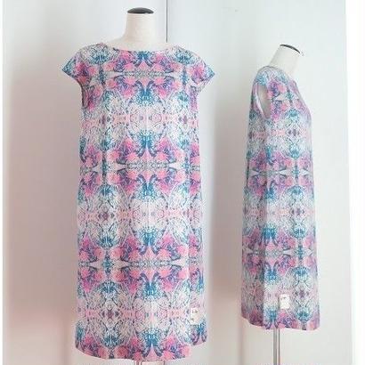 オリジナルワンピース Bi's Closet フレンチスリーブ ネイビー&ピンク