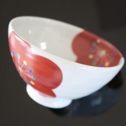 九谷焼、梅文飯茶碗、赤地径(金沢)  赤地陶房