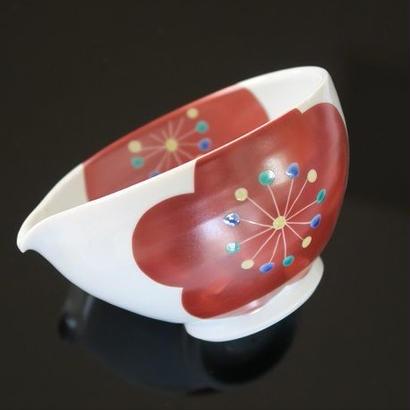 九谷焼、梅文飯片口、赤地径(金沢)  赤地陶房