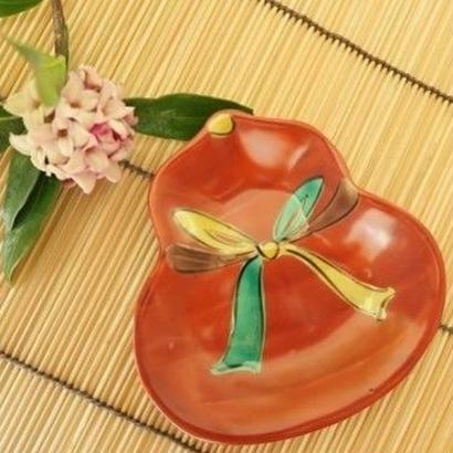 九谷焼小皿 朱巻き瓢箪 、赤地 径