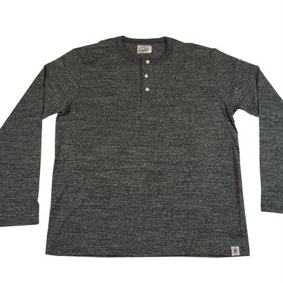 LOOPWHEEL HENLEY L/S T-SHIRTS -MIX CHARCOAL-