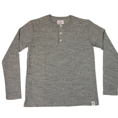 LOOPWHEEL HENLEY L/S T-SHIRTS -MIX GRAY-