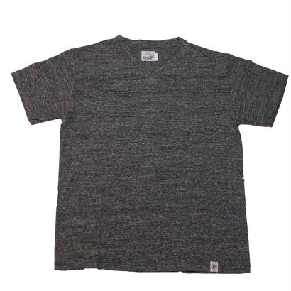 LOOPWHEEL V-NECK  T -SHIRTS -MIX CHARCOAL-