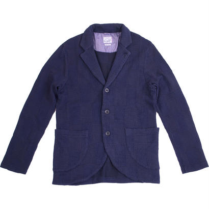 PATCHWORK JACQUARD JACKET -NAVY-