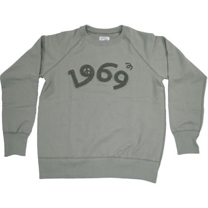 HANDLE EMBROIDERY RAGLAN CREW -OLIVE-