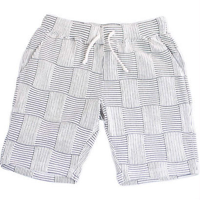 PATCHWORK JACQUARD SHORT PANTS -WHITE-
