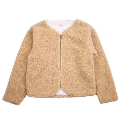 BOA FLEECE ZIP REVERSIBLE CARDIGAN -BEIGE-