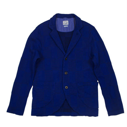 OVER DYED JACQAURD PATCHWORK JACKET -BLUE-