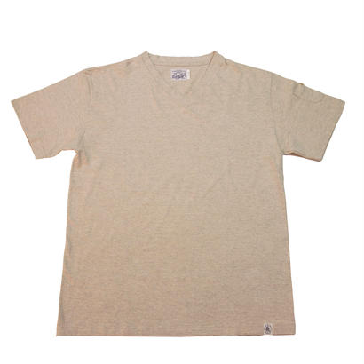 LOOPWHEEL V-NECK T-SHIRTS -OATMEAL-