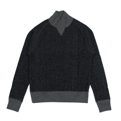 LOOPWHEEL TURTLE NECK SWEAT -MIX BLACK-