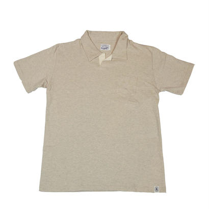 LOOPWHEEL T-POLO -OATMEAL-
