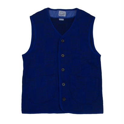 OVER DYED JACQUARD PATCHWORK VEST -BLUE-