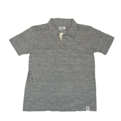 LOOPWHEEL T-POLO -MIX GRAY-