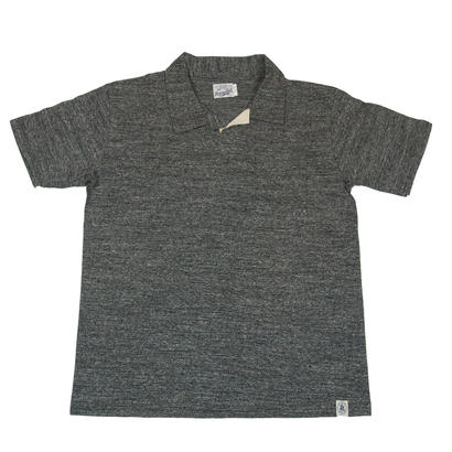 LOOPWHEEL T-POLO -MIX CHARCOAL-