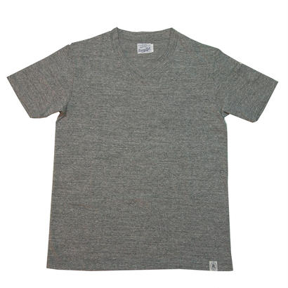 LOOPWHEEL V-NECK T-SHIRTS -MIX GRAY-
