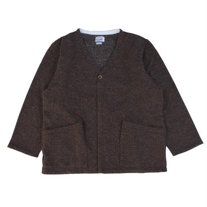 TWEED NEP FLEECE CARDIGAN -BROWN-
