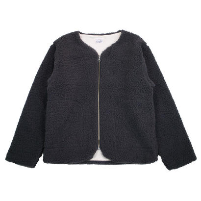 BOA FLEECE ZIP REVERSIBLE CARDIGAN -CHARCOAL-