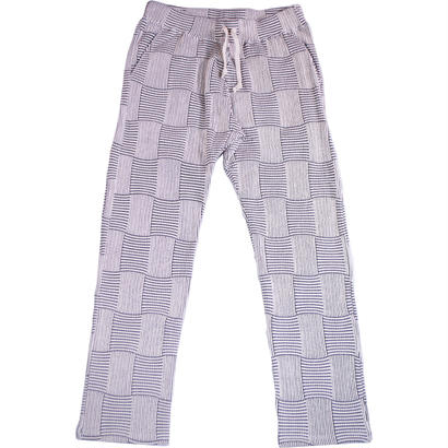 PATCHWORK JACQUARD LONG PANTS -WHITE-