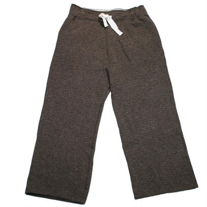 TWEED NEP FLEECE WIDE PANTS -BROWN-