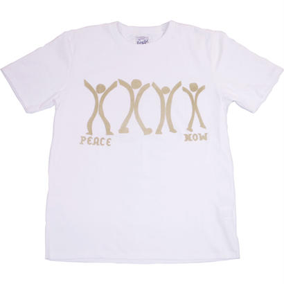 PEACE NOW HAND FLOCKY TEE -WHITE-