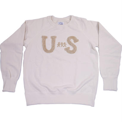 HANDLE EMBROIDERY RAGLAN CREW -NATURAL-