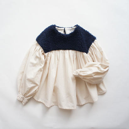 Boa Gather Blouse ( navy boa x ecru / S.M ) / folkmade