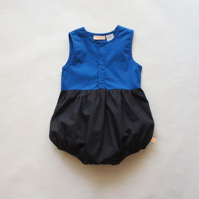 color block SL wv onepiece  (dark navy × blue) // tinycottons